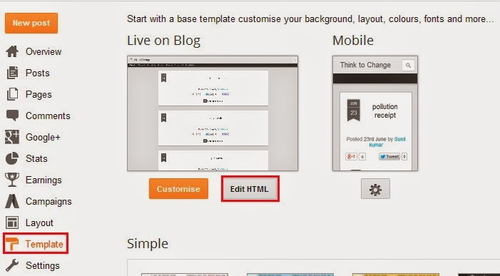 add twitter button to blogger posts