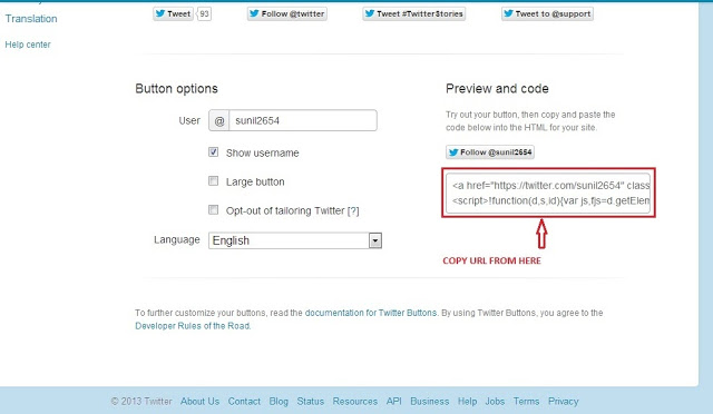 add twitter button to blogger