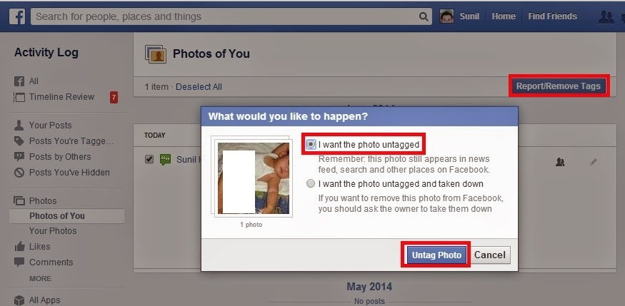 remove facebook images