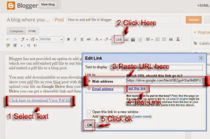 add PDF file to blogger